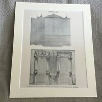 1900 Antico Stampa Classica Decoro Sheraton Disegno Camera Tende Tendaggi Design