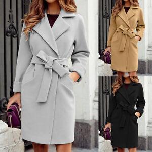 Womens Wool Trench Coat Overcoat Ladies Winter Warm Long Jacket Belt Outwear