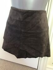 Y2K Vintage Jane Norman Brown Real Leather Suede Gypsy Wench Skirt 8 Rare