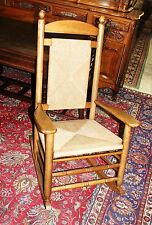 Beautiful American Oak Rush Seat Accent Rocking Chair Living Room Furniture