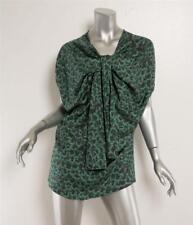 DAVID SZETO Green Print SILK Tie Twist Front Elastic Sleeve Blouse 8-40 NEW $675