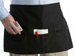 "Black Short Waiter Money Apron Bistro Wine Bar Server Pinny 22 x 14"" Zip Pockets"