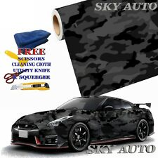 Black Gray Camo Camouflage Vinyl Car Wrap Film Sheet +Free Tools( 2 feet & up )