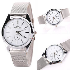 Men Women Stainless Steel Mesh Band Dial Sport Casual Quartz Wrist Watch Silver