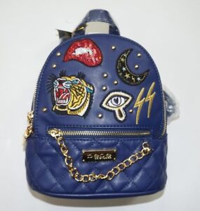 BEBE Tiger Moon Lightning Patch Blue Quilted MINI Backpack