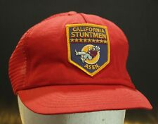Vintage California Stuntman Trucker Hat Cap Patch Mesh Snapback Red Made in USA
