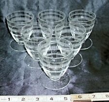 ART DECO ELEGANT ETCHED CUT GLASS 6 MATCHING COCKTAIL CUPS 1930s