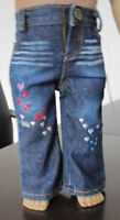 "Distressed Torn Look Jeans with Heart Details for American Girl Dolls - 18"" Doll"