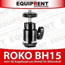 """ROKO BH15 3D Kugelkopf mit 1/4"""" für DSLR Blitzschuh + Monitor / Leuchte (EQ519)"""