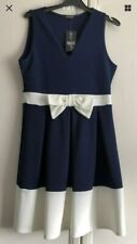 NEW GORGEOUS QUIZ NAVY & CREAM FIT & FLARE DRESS WEDDING-CHRISTENING UK 12-14