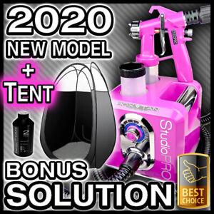 PINK SPRAY TANNING MACHINE + BLACK TENT KIT - HVLP SUNLESS TAN GUN UNIT - NEW