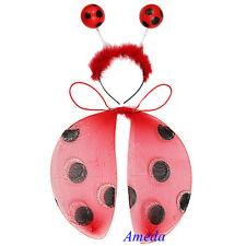 Baby Kids Girls Red Ladybug Wings Headband 2pcs Play Set Toys Dress Up Costume