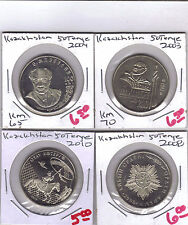 From Show Inv. -  4 UNC COMMEM 50 TENGE COINS.KAZAKHSTAN.4 TYPES.2003/04/08/10