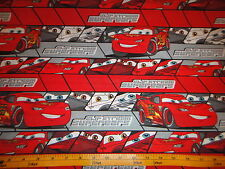 Pixar Cars Lightning MC QUEEN  #95 Red Stripes Cotton Fabric BTY
