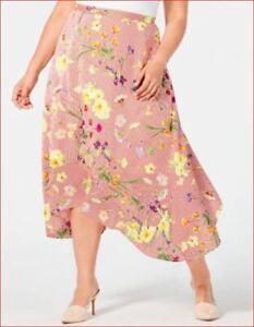 new CALVIN KLEIN women skirt CKVSL0031 W9MNZ382 red white floral sz 2X $89