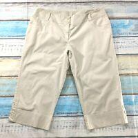 Rafaella Womens Pants size 22W new nwot Light Tan Cotton Stretch Capris Cropped