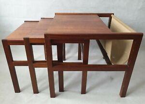 Vintage MCM McIntosh of Kirkcaldy Teak Wooden Nest of Tables with Magazine Rack