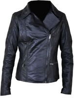 New ladies Real Genuine Leather Black Biker Retro Fitted Women Jacket Size S-3XL