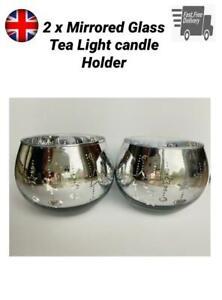 2 Mirrored Glass Tea Light Candle Holder Silver Home Decor Glitter Tealight Set