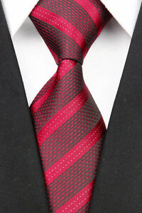 Dark Red Woven 100% Pure Silk Neck Tie  with Lighter Red Diagonal Stripes