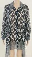 IC Collection by Connie K Women's Tunic Top Black & White Geometric Size Large