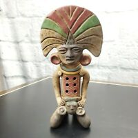 "MEXICO AZTEC MAYAN CLAY FLUTE FOLK ART POTTERY PRIMITIVE 9.5"" VINTAGE"