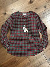 dca9aebe NWT Vineyard Vines Womens Holiday Plaid Popover Flannel Top 100% Cotton Size  4