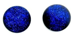 Pair (2 cabs) Dichroic Glass Cabochons flat back no hole beads RELEI choose size