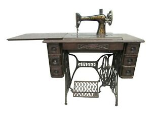 Antique Singer Sewing Machine with Wood Top & Cast Iron Base