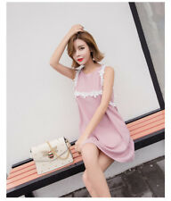 026 Korean Women's Fashion Cute 3D Floral Embroidery Sleeveless Dress Pink