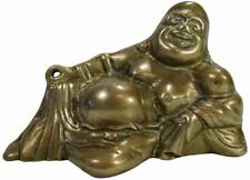 Laughing Happy Buddha Budai Quieci Reclining Brass 50's Vintage 22.5 cm