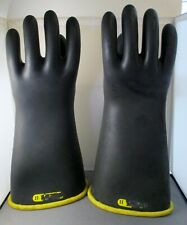 """Black Rubber Insulating Gloves with Bell Cuff Yellow Interior 16"""" Long #11"""