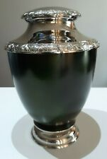 CREMATION URN ADULT - GREEN AND SILVER NICKEL URN