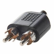 Dual 2  RCA Male Plug to 1 x RCA Female Socket Phono AV Adapter Connector aux