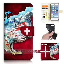 ( For iPod Touch 6 ) Wallet Flip Case Cover AJ40336 Swiss Flag