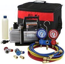 Air Vacuum Pump HVAC A/C Refrigeration Kit Manifold Gauge Set 3CFM / 4CFM AC NEW
