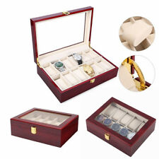 10 Grids Wooden Watch Box Display Case Organizer Glass Top Jewelry Storage