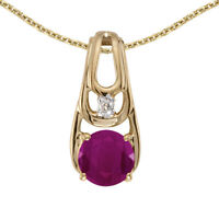 "10k Yellow Gold Round Ruby And Diamond Pendant with 16"" Chain"