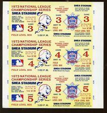 1973 NLCS Proof Ticket Block of 3 at New York Mets EX+