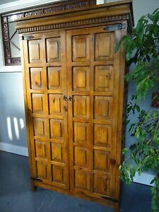 Large Vintage Pine Paneled Wardrobe