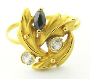 22ct gold ladies ring with white CZ stones  code-1356