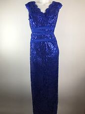 Tadashi Shoji Sequin Embroidered Lace Banded Waist Gown Dress Sleeveless 18
