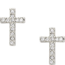 NEW-FOSSIL SILVER TONE CROSS, PAVE CRYSTAL STUDS EARRINGS JF01350040+POUCH