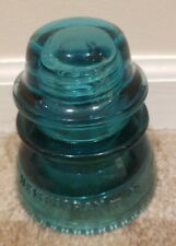 Aqua Blue Glass Insulator Hemingray 42 Beaded Bottom Usa
