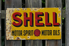 "Vintage Shell Motor Oil Metal Sign on Fence Retro Design-17""x22"" Art Print-00021"