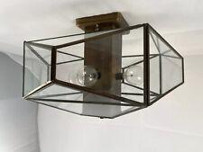 Vintage Leviton Geometric Glass Brass Ceiling Light Fixture Art Deco Modern USA