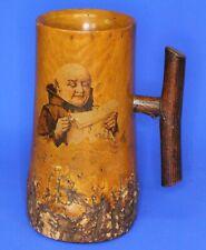 More details for vintage wooden carved treen tankard /pitcher, monk. bark base h:17cm *[21518]