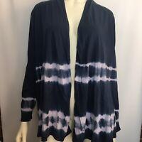 Pure Jill Womens Open Front Blue Tie Dye Cardigan Size Small 100% Pima Cotton
