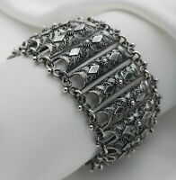 800 Silver Vintage Wide Ornate Filigree Panel Bracelet