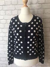 Classic Navy White Spotty Polka Dots Ladies Cardigan Papaya Size 12 Cotton Mix